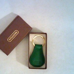 Coach Green Leather Keychain New
